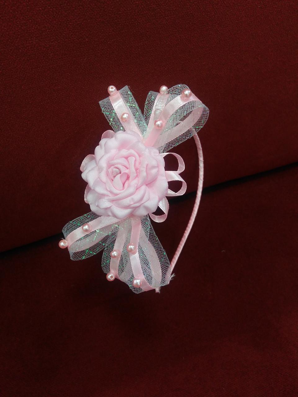 Обруч дитячий з бантиком і квіткою білий з рожевим