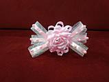 Обруч дитячий з бантиком і квіткою білий з рожевим, фото 2