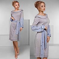 """Элегантное тёплое женское платье в больших размерах 161-1 """"Ангора Рукава Пояс Клёпки"""" в расцветках"""