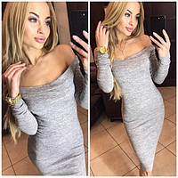 Женское красивое платье из ангоры Alana открытие плечи / размер 42,44,46,48 цвет серый