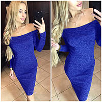 Женское красивое платье из ангоры Alana открытие плечи / размер 42,44,46,48 цвет электрик