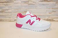 Кроссовки женские белые с розовым Т855