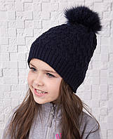 Вязанная шапка с меховым помпоном для девочек - Арт 12А (темно-синяя)