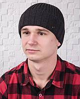 Зимняя вязаная мужская шапка - Арт Гоша (серый)