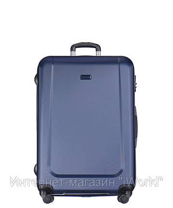 Дорожный чемодан из ABS на 4-х колесах (средний) Puccini Ibiza синего цвета, фото 2