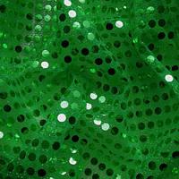Пайеточная ткань (пайетка) копейка - зеленая