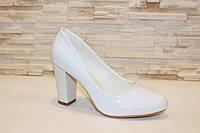 Туфли женские белые на каблуке Т856 р 36,37,38,39,40