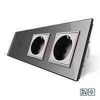 Сенсорный диммер Livolo и 2 розетки. Дистанционное управление, серый, стекло (VL-C701DR/C7C2EU-15)