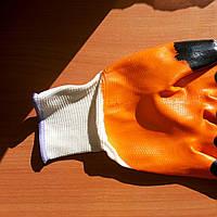 Перчатки чёрный палец  обрезиненые  нитка синтетика