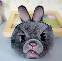 Детский кошелек серый заяц, 3D принт, плюш-велюр