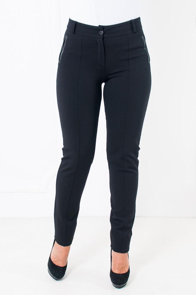 Женские брюки с продольными швами на байке Аманда черного цвета
