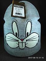 """Детская вязаная шапка """"Кролик"""""""