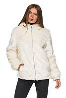 Полушубок женский белый теплай шуба зимняя