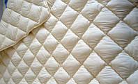 Зимнее теплое полуторное одеяло 155*210. Холлофайбер. Кремовый.