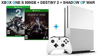 Xbox One S 500GB + Destiny 2+Shadow of War