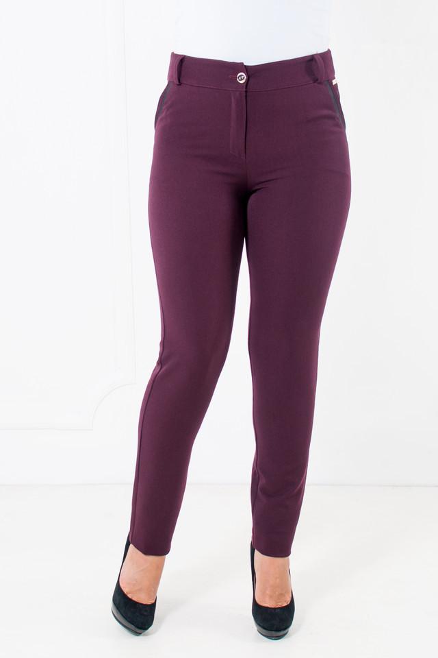 Зауженные женские брюки Миранда бордового цвета