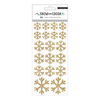 Наклейки - Crate Paper - Snow & Cocoa - Snowflakes - Gold Glitter - (38 Piece)