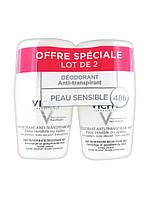 Шариковый дезодорант для чувствительной кожи Vichy 48H Anti-Perspirant Deodorant Sensitive Skin Roll-on 2 x 50ml