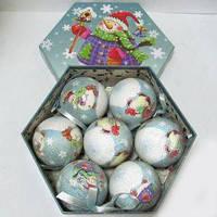 Подарочный набор матовых елочных шаров Снеговик 7 шт.