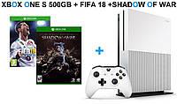 Xbox One S 500GB +  FIFA18+Shadow of War