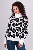 Молодёжный  теплый вязаный свитер с леопардовым принтом 44 -50