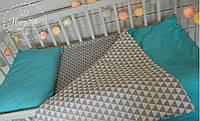 Постільна білизна в ліжечко в бірюзово-сірих тонах 1474