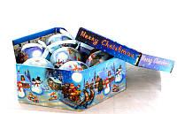 Набор глянцевых шаров в подарочной упаковке Упряжка Деда Мороза 7 шт.
