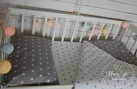 Постільна білизна в ліжечко в сіро-білих тонах 1475