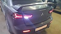 Задние тюнинг фонари Lancer X 2008+ Audi стиль , светодиодные, прозрачные/красные Лансер Х