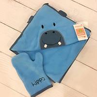 """Махровый набор для купания младенца """"Бегемотик Hippo"""" в наборе с рукавичкой"""