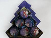 Набор елочных шаров глянцевые в подарочной коробке Снеговик с детьми 6 шт. 75 мм