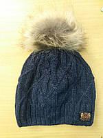 Детская зимняя вязанная шапка на флисе 50-52