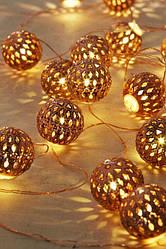 Новогодняя LED Гирлянда 20 Ламп Фигурки Золотые  Фонарики Листики Бусинки Звездочки