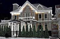 Уличная Внешняя Светодиодная Гирлянда Бахрома для Фасадов Зданий Окон 120 LED Холодный и Теплый Белый Цвета 5м
