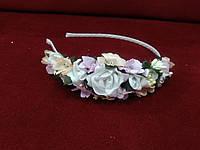 Обруч с цветами (цветочный венок) белый с персиковым и розовым для взрослых и детей