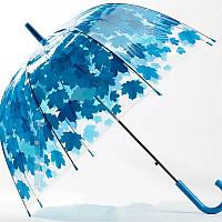 Зонт-трость прозрачный Листья, голубой