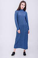 Однотонное женское вязаное платье