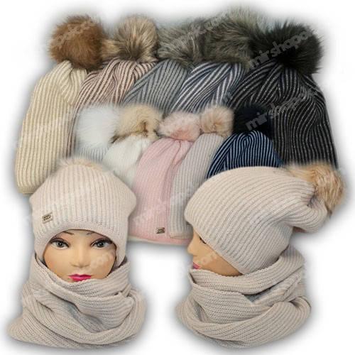 Комплект шапка и шарф (хомут) для девочки, 1407, р. 52-54, Agbo (Польша), подкладка флис