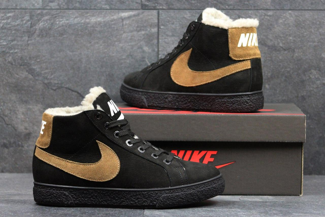 Зимние высокие кроссовки Nike,замшевые, на меху