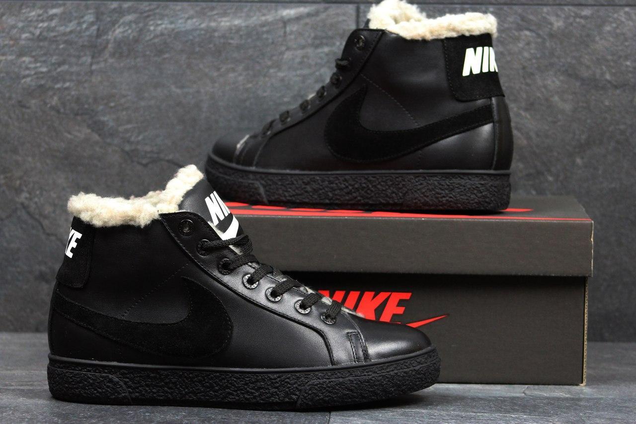 Зимние высокие кроссовки Nike,кожаные, на меху
