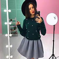 Женский стильный костюм: юбка солнце + свитшот (2 цвета)