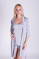 Комплект светло серый пижама-халат, К09п