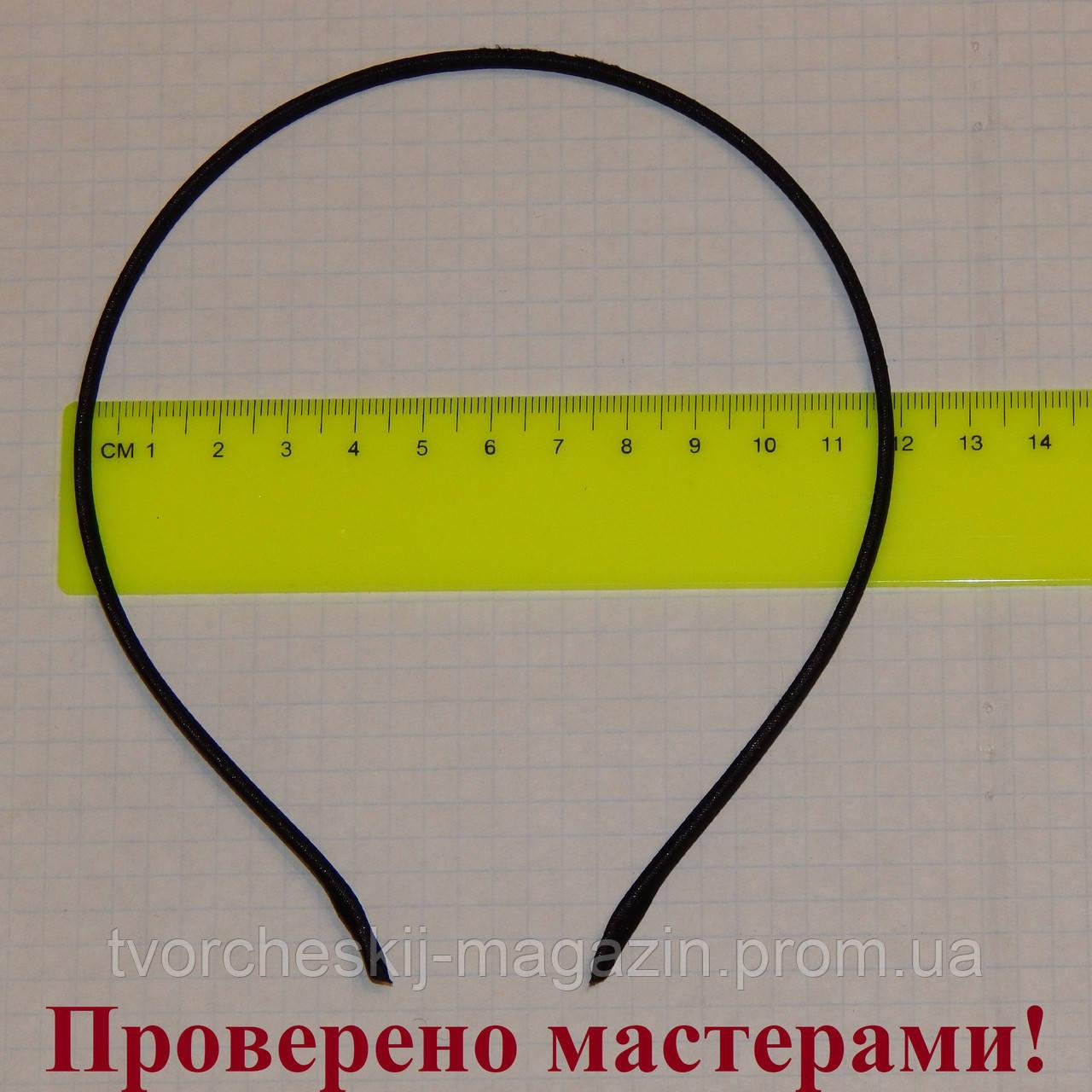 Ободок металлический в ткани 5 мм черный