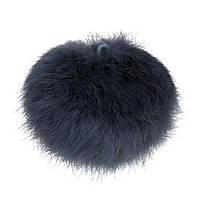Помпон, Шарик, Кроличья шерсть, Круглый, Мяча с кольцом, темно-серый, 80 мм