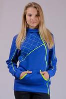 Синяя куртка женская спортивного стиля трикотажная с капюшоном Турция