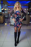 Платье женское, цвет: Принт синий, размер: 36, 38, 40