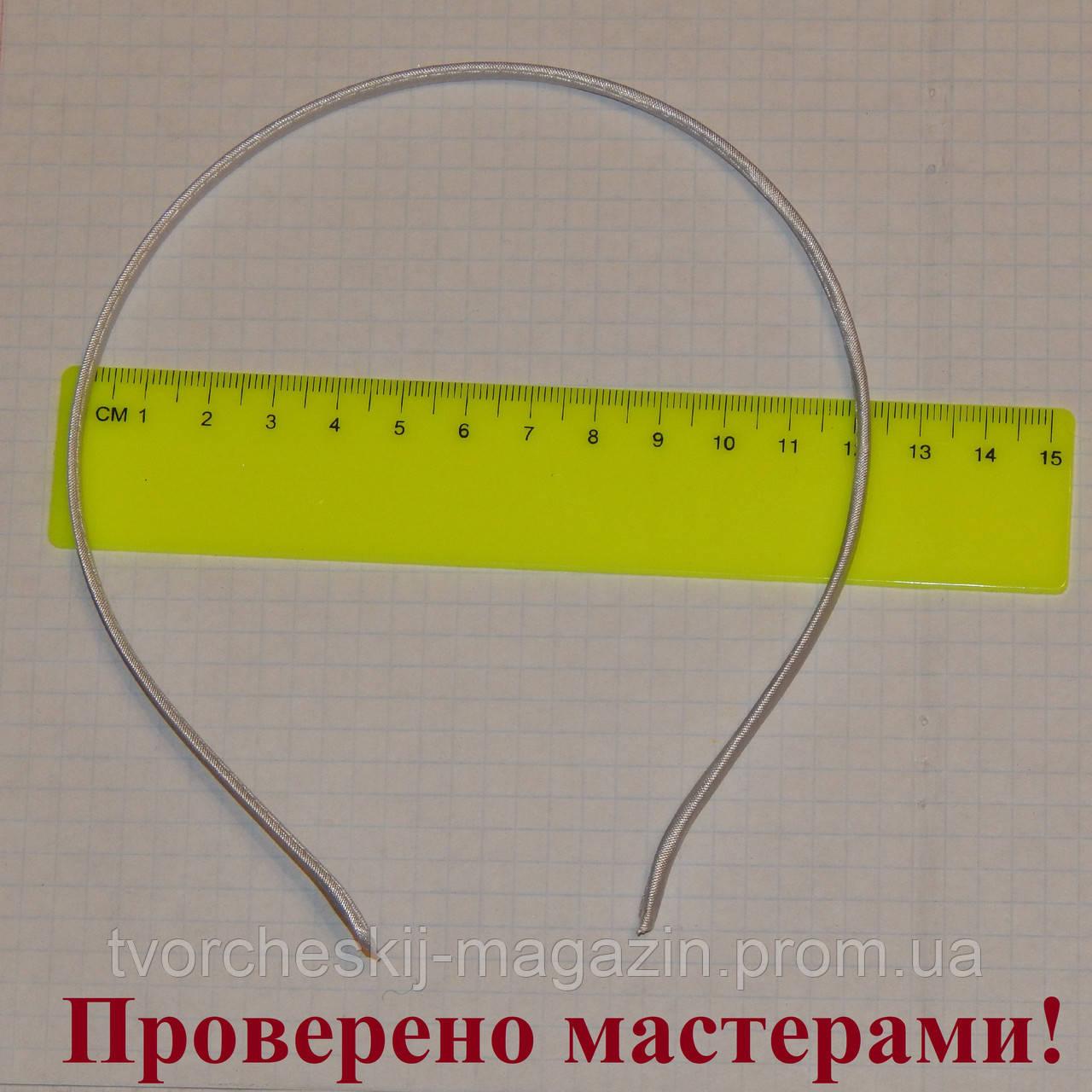 Ободок металлический в ткани 5 мм белый