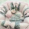 """Розовые бортики-защита """"Нежность"""" в круглую кроватку + комплект постельного белья"""