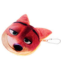 Детский кошелек рыжая лиса, 3D принт, плюш-велюр