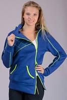 Спортивная удлиненная куртка женская спортивного стиля трикотажная с капюшоном Турция
